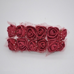 Foam Roses - Burgundy (Bunch of 12)
