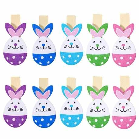 Wooden Bunny Pegs (10pcs)