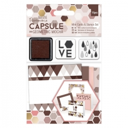 Mini Cards & Stamps Set (16pcs) - Geometric Mocha (PMA 105306)