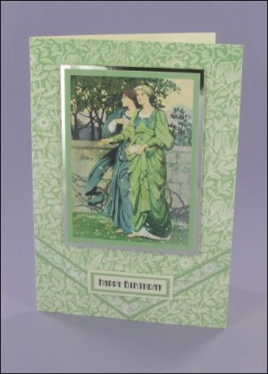Green Art Nouveau Ladies card