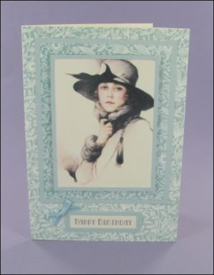Pale Teal Lady in Grey card
