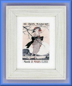 Framed Au Bon Marche Postcard