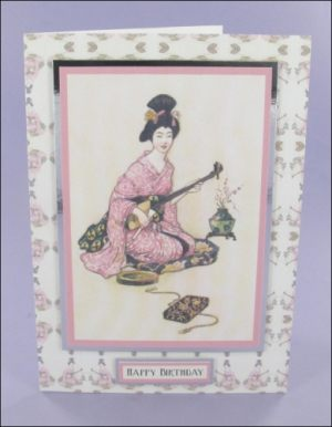 Warwick Goble Geisha Musician card