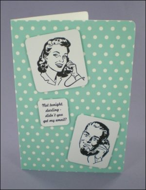 Phone Couple 50s Style Card