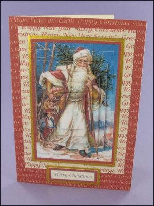 Santa with Drum pyramage card