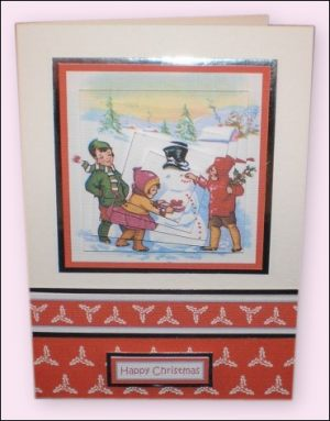 Snowman with Red Buttons Twisted Pyramage card