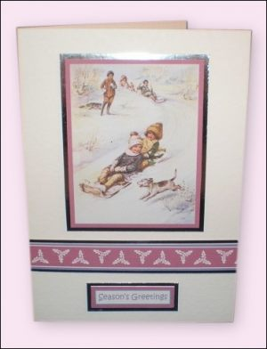 Children with Sledge motif card