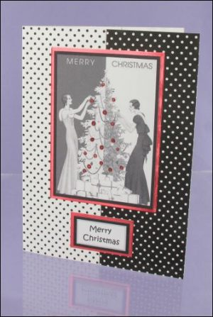 30s Ladies Polka Dot Christmas card