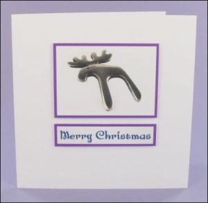 Silver Reindeer Photo Motif Card