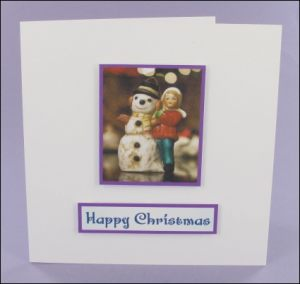 Snowman and Girl Photo Motif Card