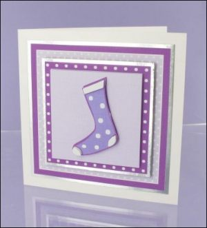 Purple Stocking Decoupage card