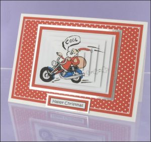 Santa on Motorbike Pyramage card