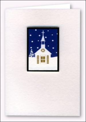 Snowy church scene card
