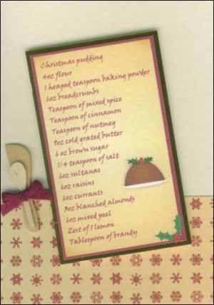 Vintage Christmas pudding card
