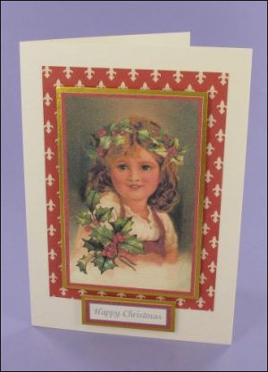 Smiley Holly Girl Christmas card