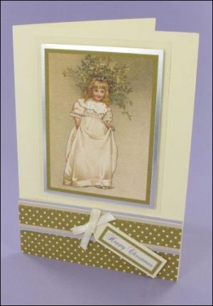 Mistletoe Girl Christmas Card
