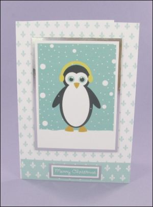 Wibbly Wood Penguin Christmas card