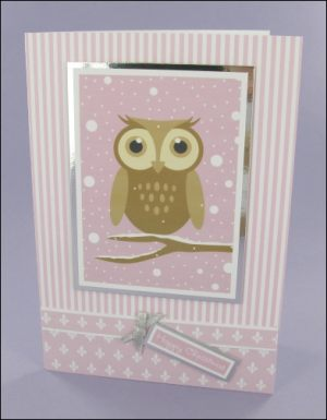 Wibbly Wood Pink Owl Christmas card