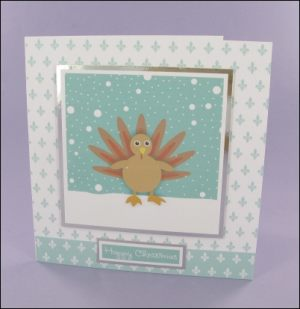 Wibbly Wood Turkey Christmas card