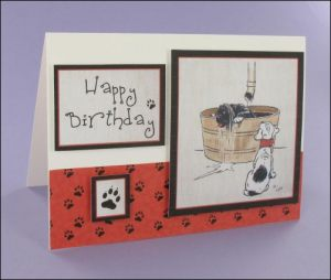 Puppy Bathtime card