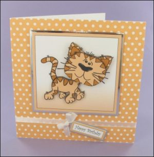 Whiskers Square Decoupage Card