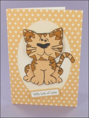 Whiskers Oval Panel Decoupage Card