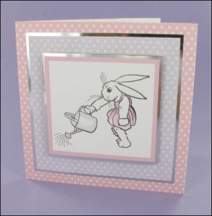 Watering Can Bunny Digital Stamp card