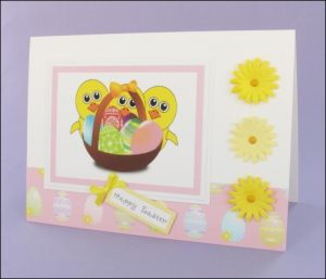 Three Cheerful Chicks Easter card