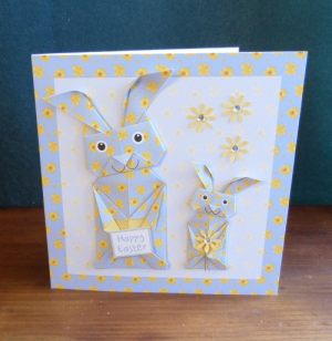 Origami Easter Bunny Blue