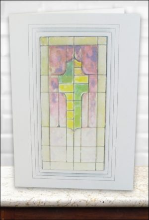 Stained Glass Cross Decoupage card