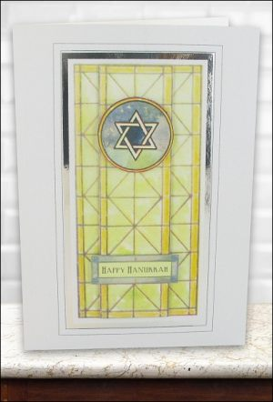 Stained Glass Star of David card
