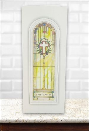 Stained Glass Cross & Lilies Easter card