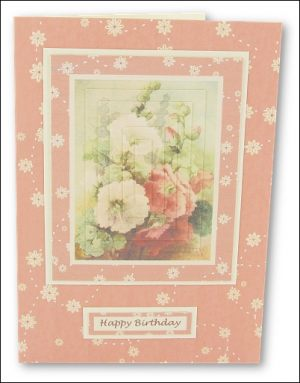 Watercolour Hollyhocks Pyramage card