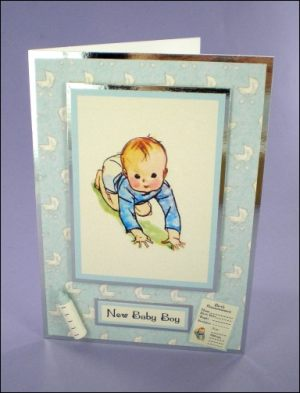 New Baby Boy card with Miniatures