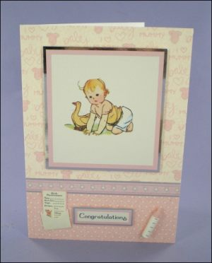 Baby Girl with Duck Congratulations card