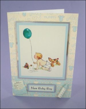 New Baby Boy with Balloon Card