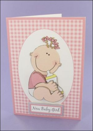 Baby Girl with Bottle decoupage card