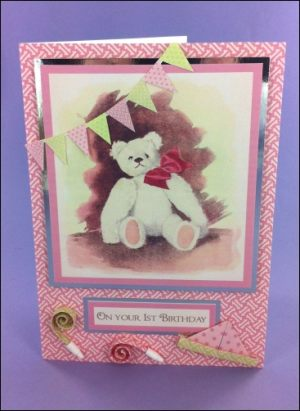 Teddy Bear First Birthday card