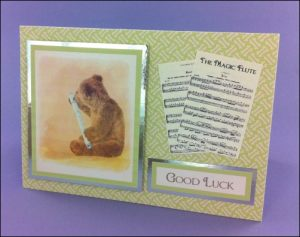 Bear with Flute Good Luck card