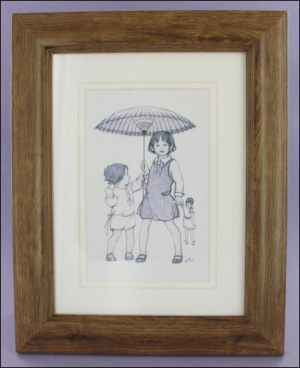 Parasol Girls framed postcard