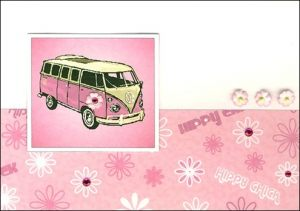 Hippy chick camper van card