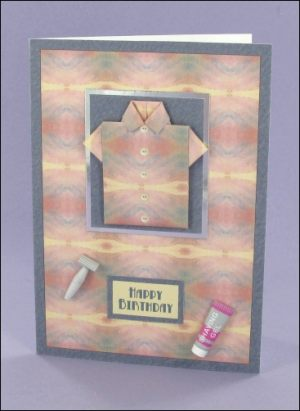 Dusky Pink & Blue A6 Origami Shirt card