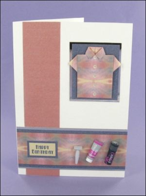 Dusky Pink & Blue Origami Shirt card