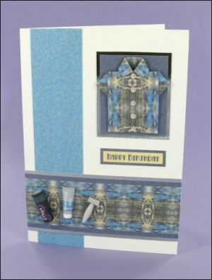 Blue 7 x 5 Origami Shirt card