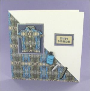 Blue Square Origami Shirt card