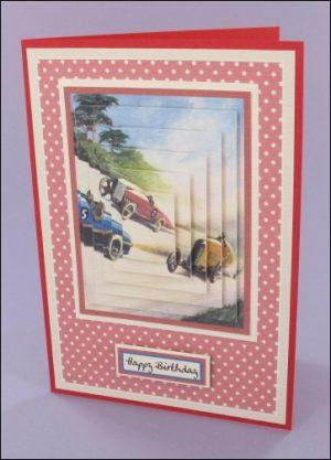 Racing car pyramage card