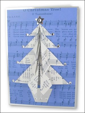 Music Origami Christmas Tree card
