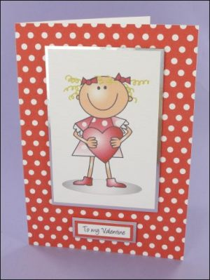 Lucy with Heart Valentines card