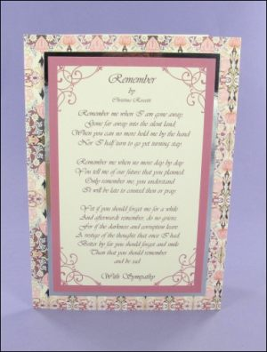 Rossetti's Remember Sympathy card
