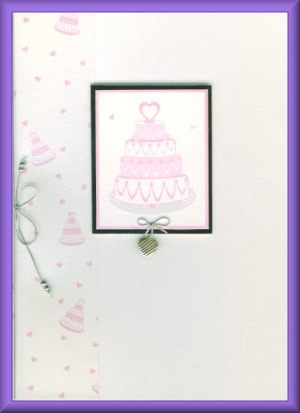 Pink wedding cake card